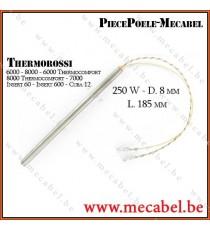 Résistance bougie allumage poêle pellet granulés 250W D.8 mm L. 185 mm- THERMOROSSI
