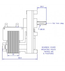Motoréducteur MELLOR 3 RPM - série T3, alimentation 220VCA - diamètre 8,5 mm