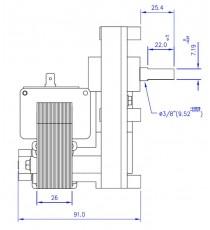 Motoréducteur MELLOR 1,26 RPM, série T3 alimentation 220VCA