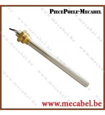"""Bougie diamètre 12,5 mm avec raccord fileté de 3/8"""" GAS - Longueur 204 mm"""